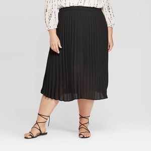 NWT Black Pleated Midi Skirt Elastic Waist